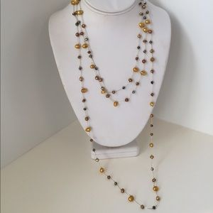 Jewelry - Freshwater pearl 3-strand necklace, brown and gold